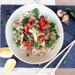 Salteado de shiitake, tempeh y arroz de coliflor